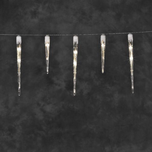 LED Vorhang,24 warme LEDs, 6 Zapfen,außen, weißes Kabel