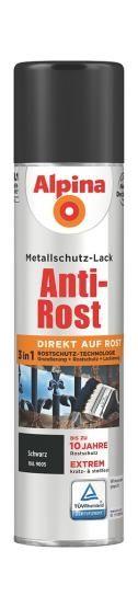Alpina Metallschutz-Lack Anti-Rost Spray Matt 400ml RAL 9005 Schwarz
