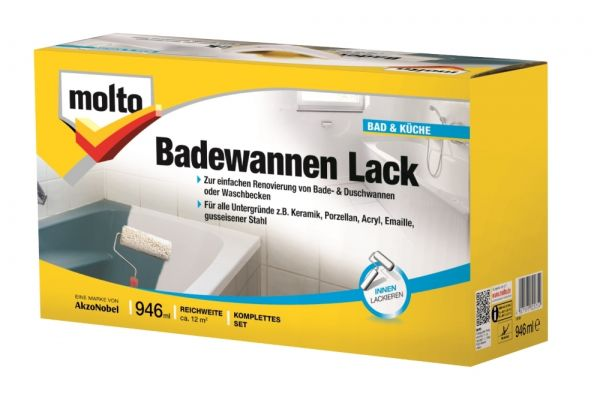 Molto Badewannen Lack Set weiß 950ml Basis und Härter + Werkzeug