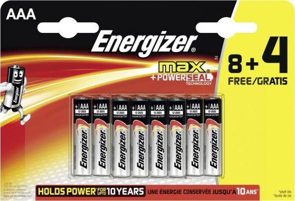 Energizer Micro (AAA)-Batterie Alkali-Mangan Max LR03, 8+4 gratis 1.5 V 12 St.