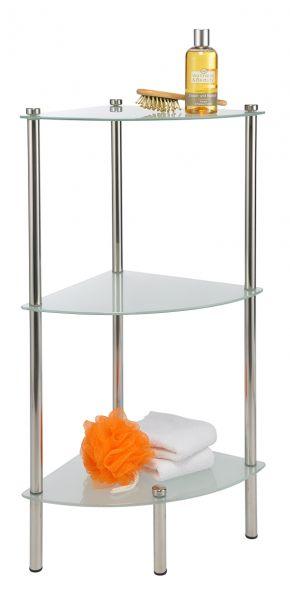 Bad Eckregal, 3 Glasböden verchromt, 30x30x76 cm