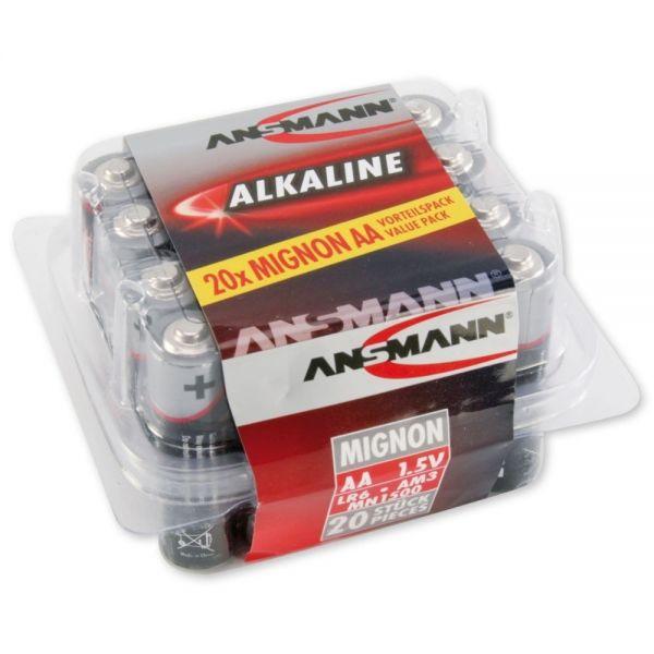ANSMANN Red Alkaline Batterie Mignon AA LR6 Longlife Alkalibatterie (20er Box) Vorratsbox Sparpaket