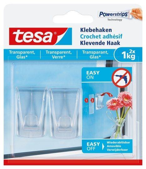 tesa® Klebehaken für transparente Oberflächen und Glas (1kg)