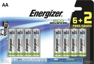 Energizer Mignon (AA)-Batterie Alkali-Mangan Eco Advanced LR06, 6+2 gratis 1.5 V 8 St.