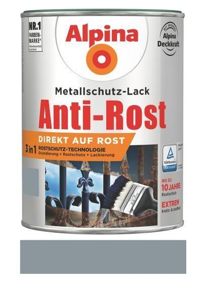 Alpina Metallschutz-Lack Anti-Rost Matt 750 ml RAL 7001 Hellgrau