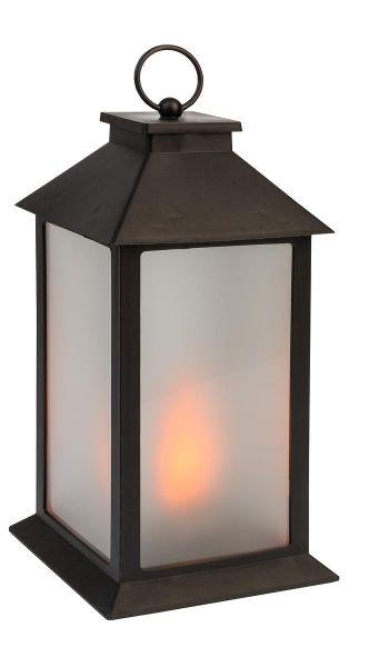 Idena LED Laterne in Flammenoptik mit Timer