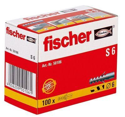 Fischer Dübel S6, 100 Stück S6, 100 Stück