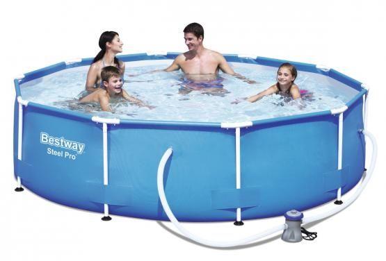 Bestway Frame Pool Steel Pro Set 305 x 76cm 4.678 Liter mit Filterpumpe und Reparaturflicken