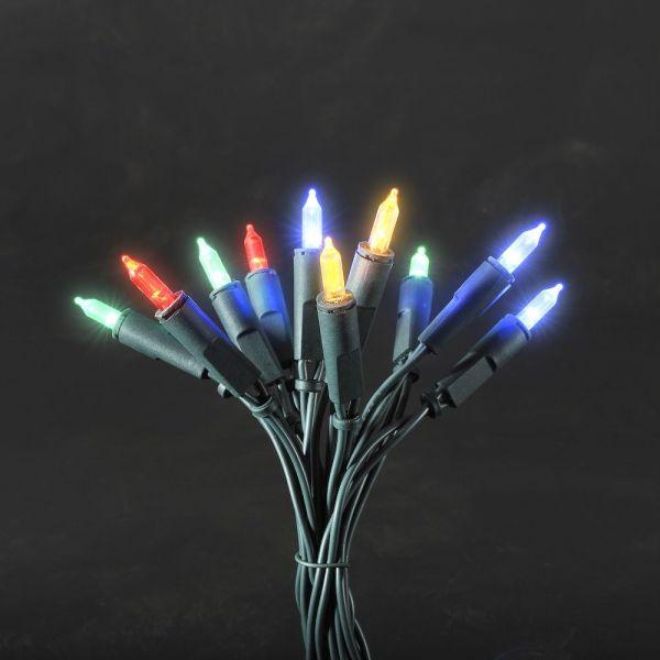 LED Minilichterkette, 20 bunte Dioden, 1,35m