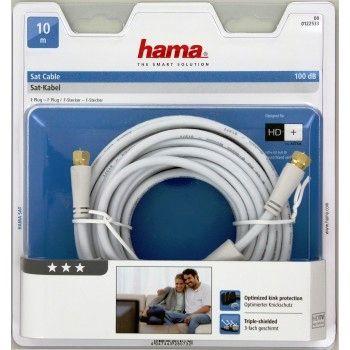 Hama SAT-Anschlusskabel, F-Stecker - F-Stecker, vergoldet, 10,0 m, 100 dB