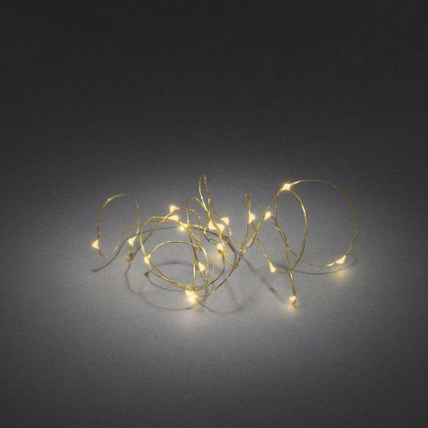 Micro LED Lichterk.,Tim.,Batt. 40 bernsteinf.LED,messing, 3,9m