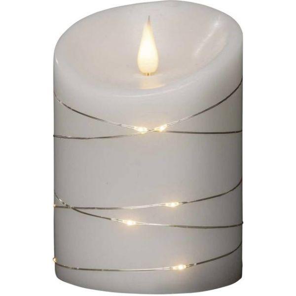 LED Echtwachskerze,3-D Flamme weiß,Draht umw.H14Ø1