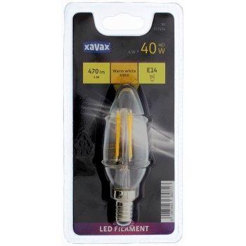 Xavax LED-Filament, E14, 470lm ersetzt 40W, Kerzenlampe, Warmweiß