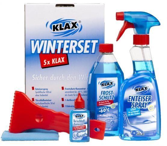 KLAX Winterset 5-teilig (Eiskratzer, Enteiserspray, Frostschutz, Türschlossenteiser, Antibeschlagtuc