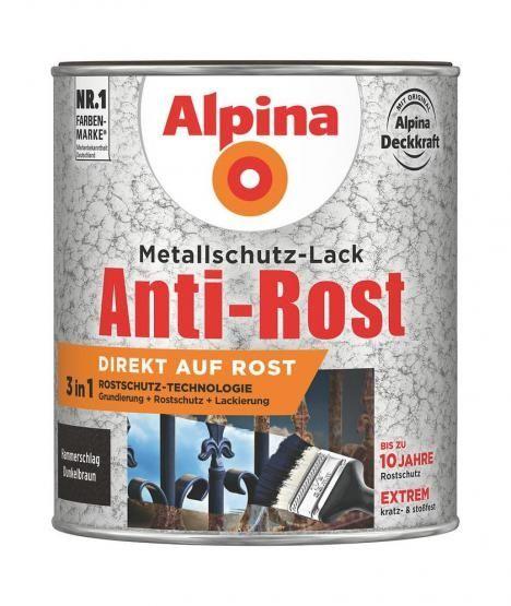 Alpina Metallschutz-Lack Anti-Rost Hammerschlag 750 ml ca. RAL 8028 Dunkelbraun