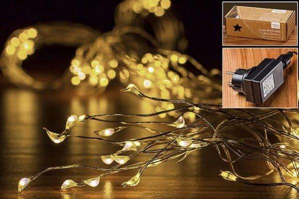 Boltze LED-Kaskade 350er L400cm 350 LEDs Warm Weiss, 2,2m
