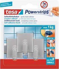 tesa Powerstrips® Haken Small Rechteck matt-chrom