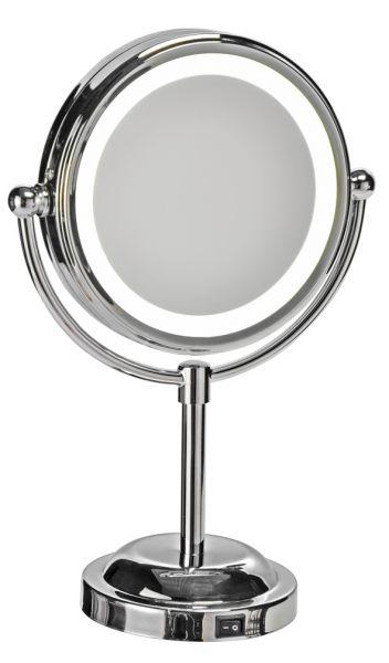 Stand-Kosmetikspiegel, LED Ø 10,5 cm, 28cm hoch,oh