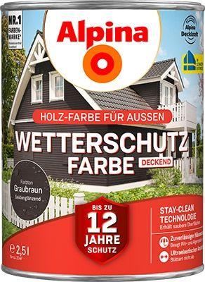 Alpina Wetterschutzfarbe 2,5 l, graubraun