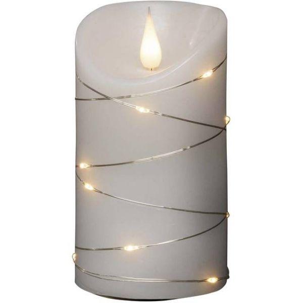 LED Echtwachskerze,3-D Flamme weiß,Draht umw.H13,5