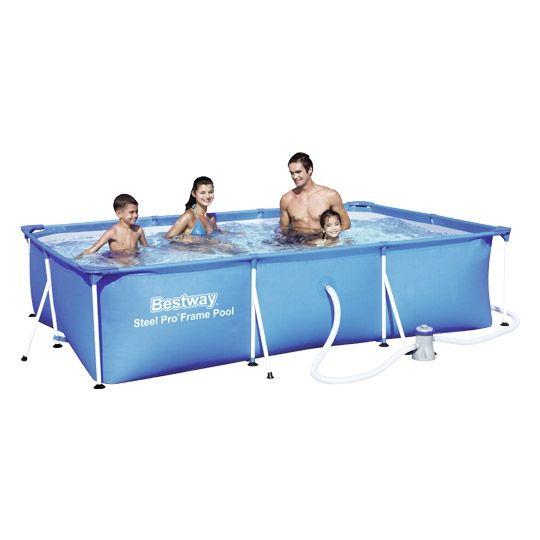 Bestway Splash Frame Pool, rechteckig 300x201x66 cm, 230/12 V Pumpe
