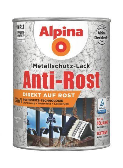 Alpina Metallschutz-Lack Anti-Rost Hammerschlag 750 ml ca. RAL 9006 Silber