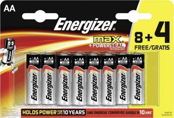 Energizer Mignon (AA)-Batterie Alkali-Mangan Max LR06, 8+4 gratis 1.5 V 12 St.
